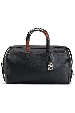 COACH Python-trimmed leather weekend bag