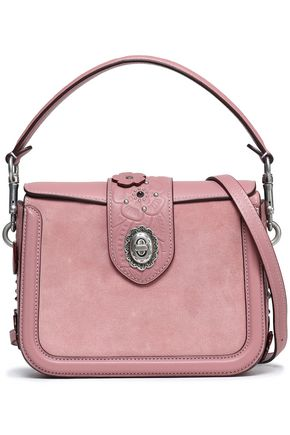 COACH Floral-appliquéd leather-trimmed suede shoulder bag