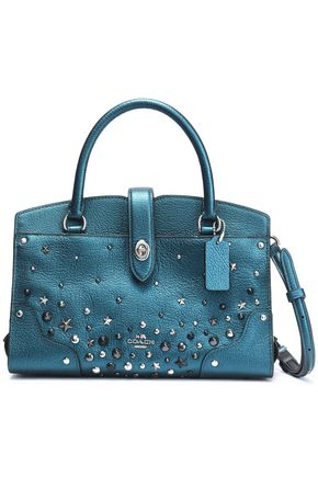 COACH Studded metallic leather shoulder bag