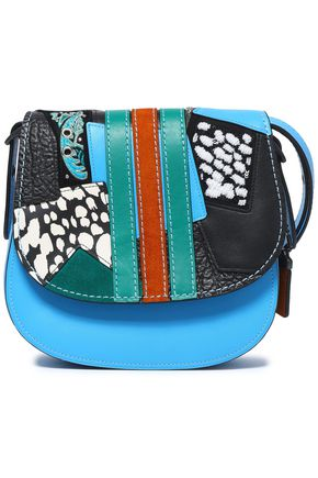 COACH Embellished patchwork leather and suede shoulder bag