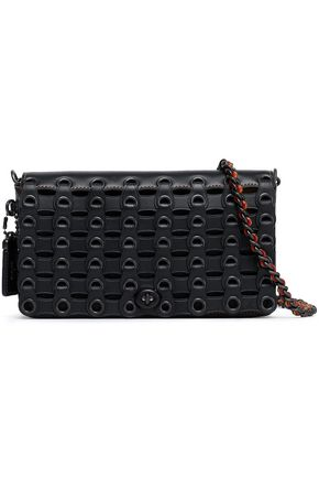 COACH Eyelet-embellished leather shoulder bag