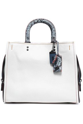 COACH Python-trimmed leather shoulder bag