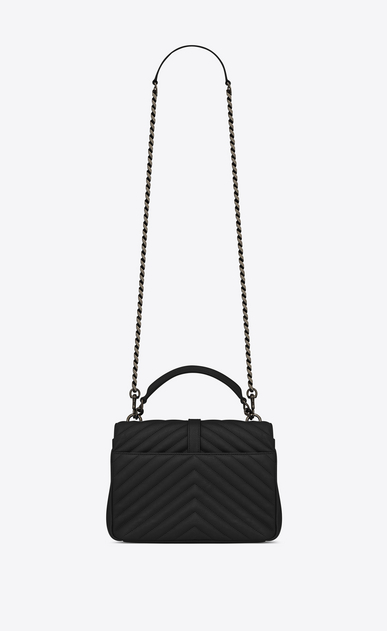 SAINT LAURENT Monogram College Woman medium collège bag in black matelassé leather b_V4