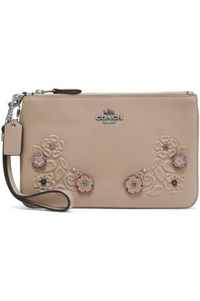 COACH Embellished embossed leather pouch