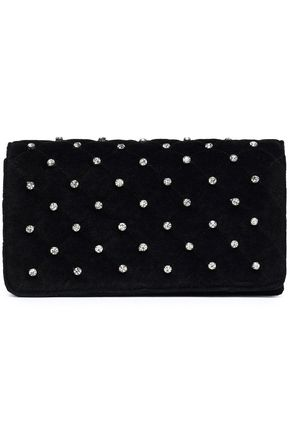 CLAUDIE PIERLOT Crystal-embellished quilted velvet clutch