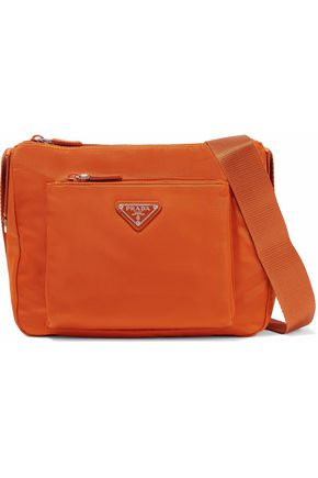 PRADA Leather-trimmed shell shoulder bag