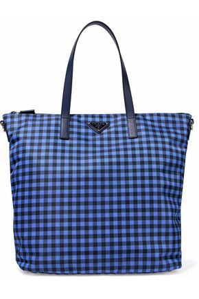 PRADA Leather-trimmed gingham shell tote