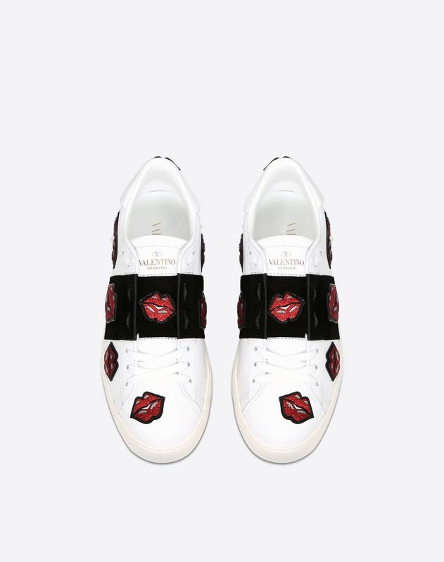 Sequin Lip Motif Open Sneaker