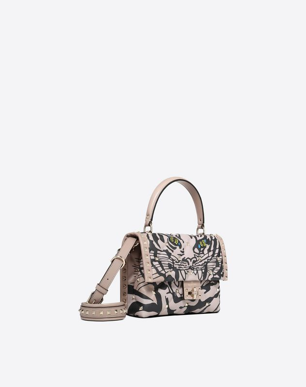 Tiger Print Candystud Top Handle Bag