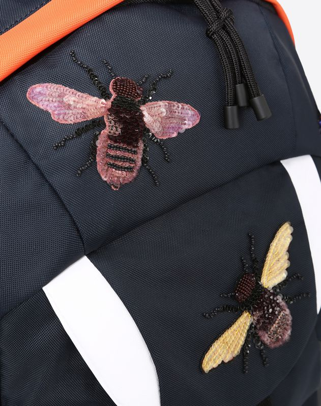 Backpack with insect embroidery
