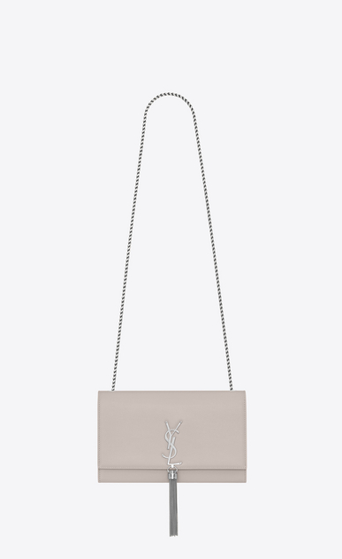 SAINT LAURENT MONOGRAM KATE WITH TASSEL Donna medium kate tassel chain bag in icy white textured leather a_V4