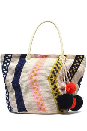 SOPHIE ANDERSON Leather-trimmed pompom-embellished woven tote