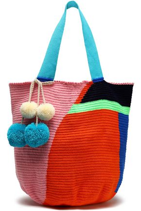 SOPHIE ANDERSON Pompom-embellished woven tote