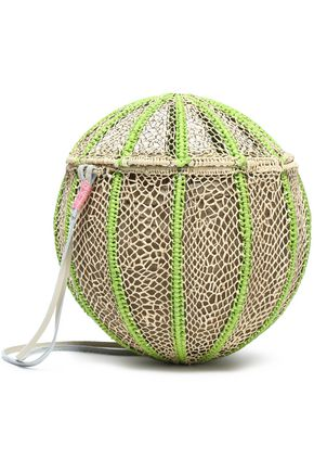SOPHIE ANDERSON Leather-trimmed woven straw shoulder bag