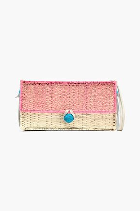 SOPHIE ANDERSON Color-block straw shoulder bag