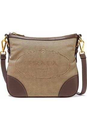 PRADA Leather-trimmed canvas shoulder bag