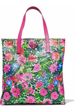 PRADA Textured leather-trimmed floral-print shell tote