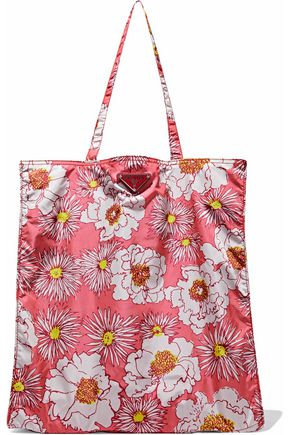 PRADA Leather-trimmed floral-print shell tote