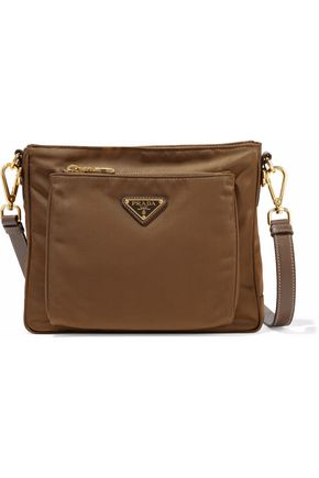 PRADA Leather-trimmed satin-faille shoulder bag