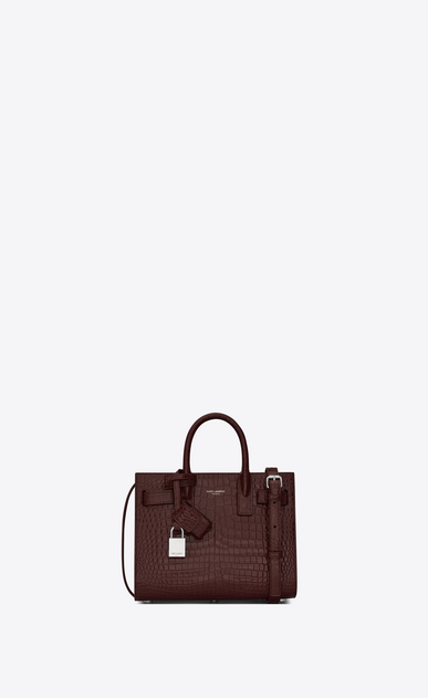 SAINT LAURENT Nano Sac de Jour Donna nano sac de jour bag in burgundy crocodile embossed leather a_V4