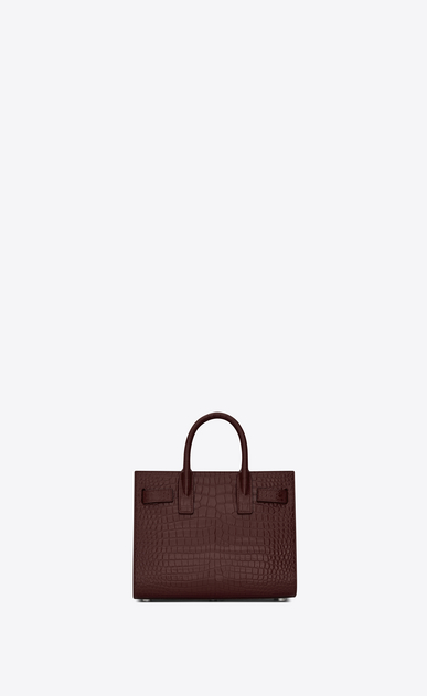 SAINT LAURENT Nano Sac de Jour Donna nano sac de jour bag in burgundy crocodile embossed leather b_V4