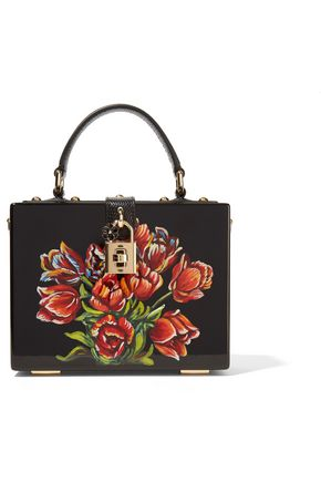DOLCE & GABBANA Dolce Box leather-trimmed painted wood shoulder bag