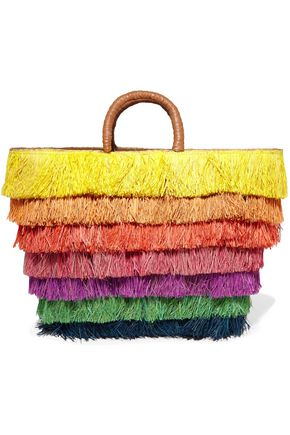 KAYU Leather-trimmed fringed straw tote