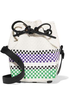 TRUSS Leather-trimmed striped basketweave bucket bag