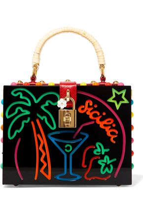 DOLCE & GABBANA Dolce Box leather-trimmed embellished Perspex shoulder bag