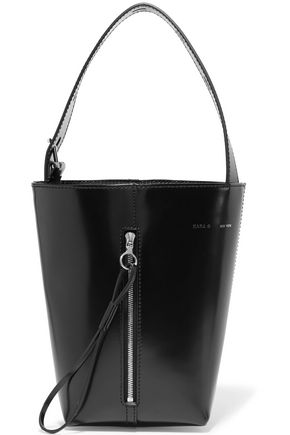 KARA Panel Pail glossed-leather bucket bag