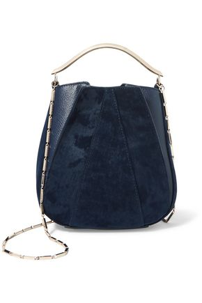 EDDIE BORGO Pepper Pochette mini twill and textured-leather bucket bag