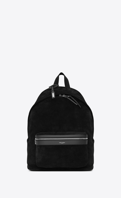 SAINT LAURENT Backpacks SL Man City backpack in black suede a_V4