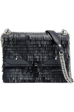 FENDI Embellished fringed leather shoulder bag