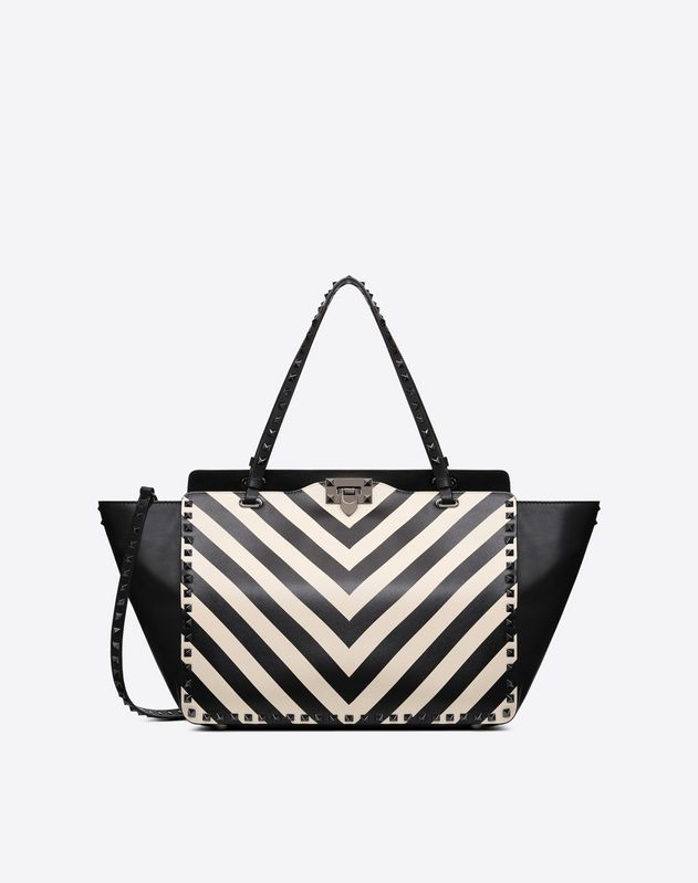 Large Striped Rockstud Tote
