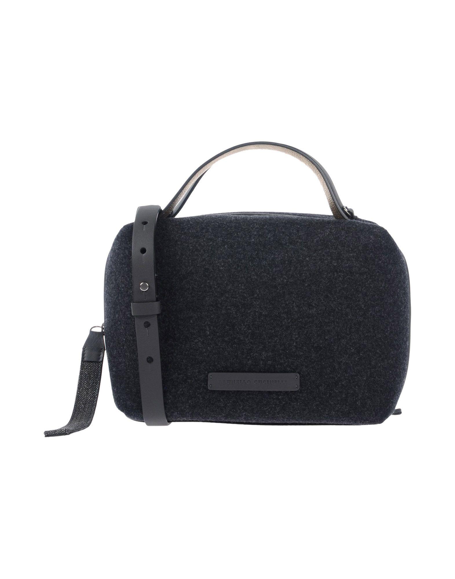 《送料無料》BRUNELLO CUCINELLI レディース ハンドバッグ スチールグレー 紡績繊維 / 革
