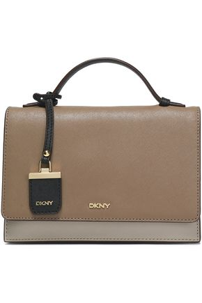 DKNY Color-block textured-leather shoulder bag