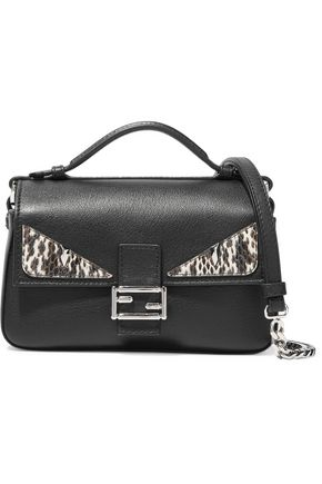 FENDI Double Baguette micro elaphe-paneled leather shoulder bag