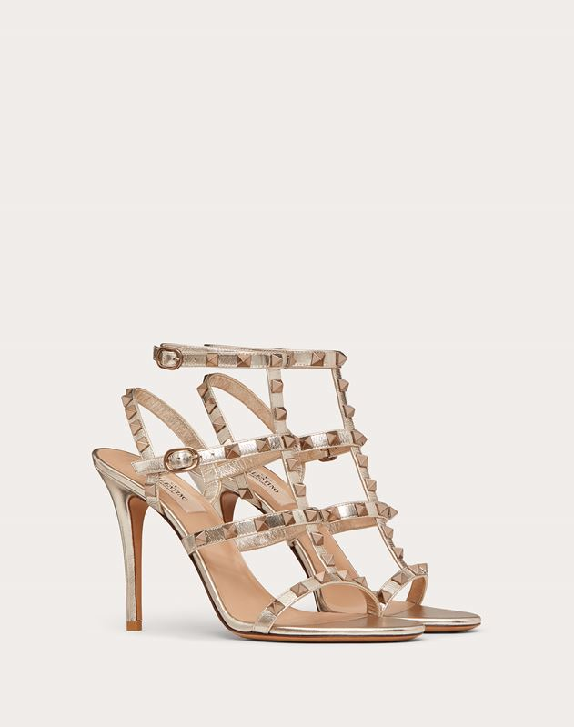 Rockstud Metallic Ankle Strap Sandal 100 mm