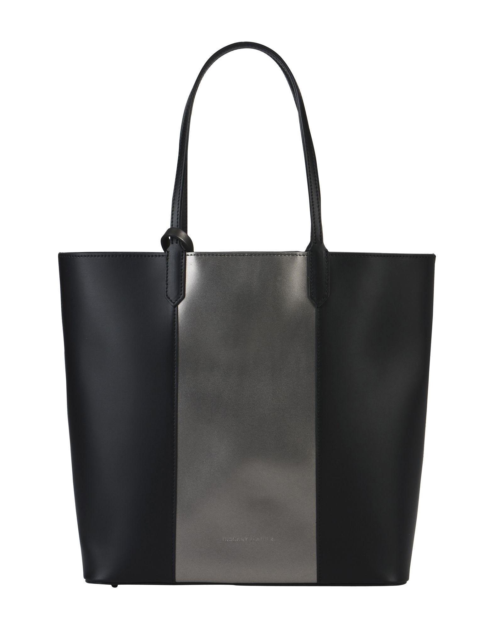 《送料無料》TUSCANY LEATHER レディース ハンドバッグ ブラック 革 Dafne Borsa shopper in pelle bicolor con pochette interna