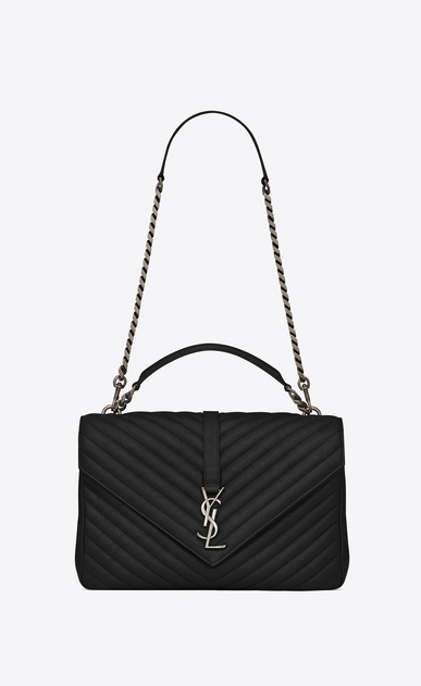 SAINT LAURENT Monogram College Woman large collège bag in black matelassé leather a_V4