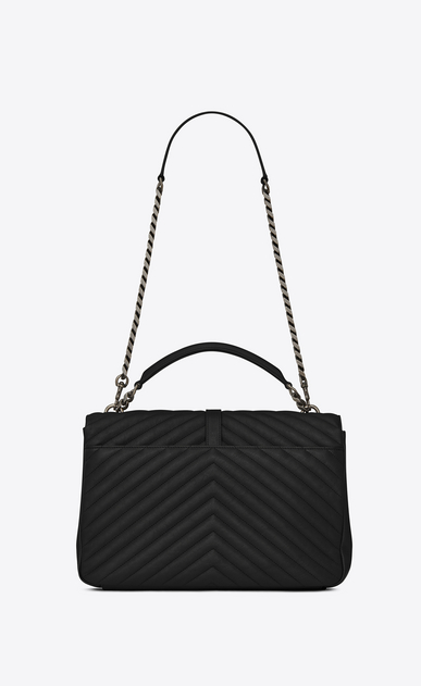SAINT LAURENT Monogram College Donna large chain bag nera in pelle matelassé b_V4