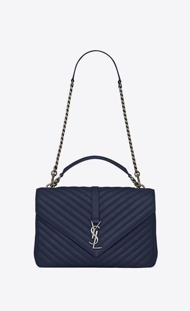 SAINT LAURENT Monogram College Donna large collège bag blu navy in pelle matelassé a_V4