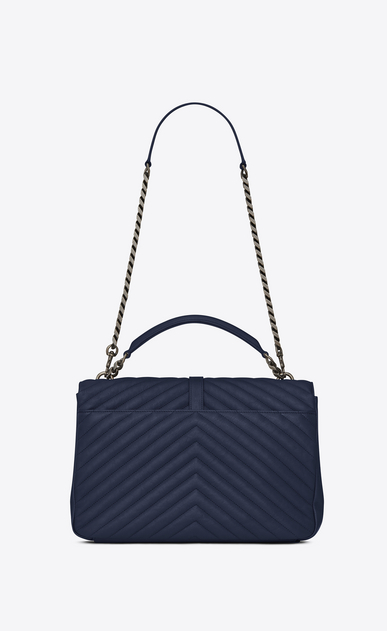SAINT LAURENT Monogram College Donna large collège bag blu navy in pelle matelassé b_V4