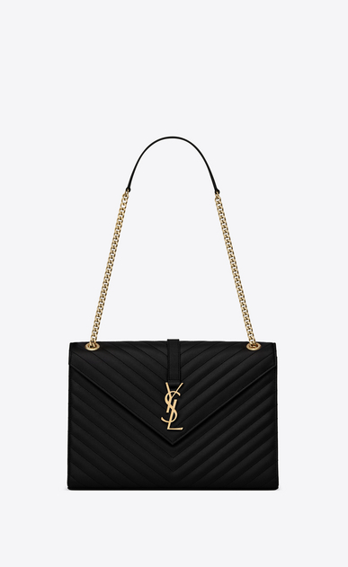 SAINT LAURENT Monogram envelope Bag Donna satchel nera in pelle matelassé a texture a_V4