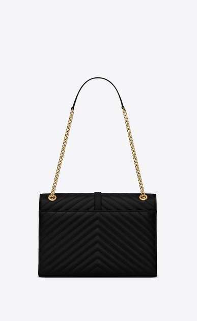 SAINT LAURENT Monogram envelope Bag Donna satchel nera in pelle matelassé a texture b_V4