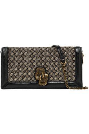 BOTTEGA VENETA Intrecciato lamé and lizard-effect leather shoulder bag