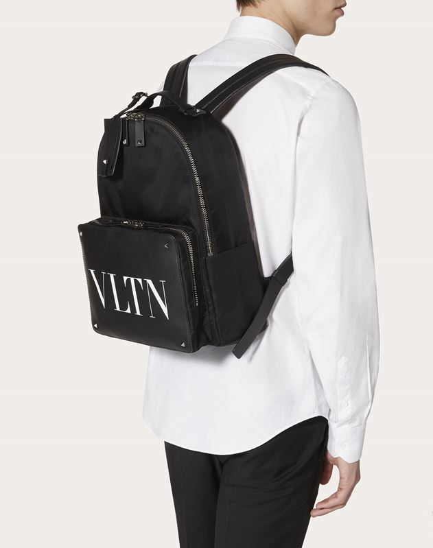 NYLON VLTN BACKPACK WITH LEATHER FRONT POCKET