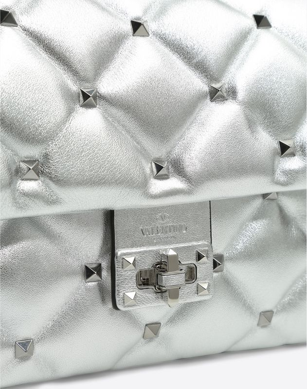 Metallic Candystud Top Handle Bag