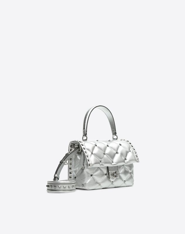 Metallic Candystud Top Handle Bag