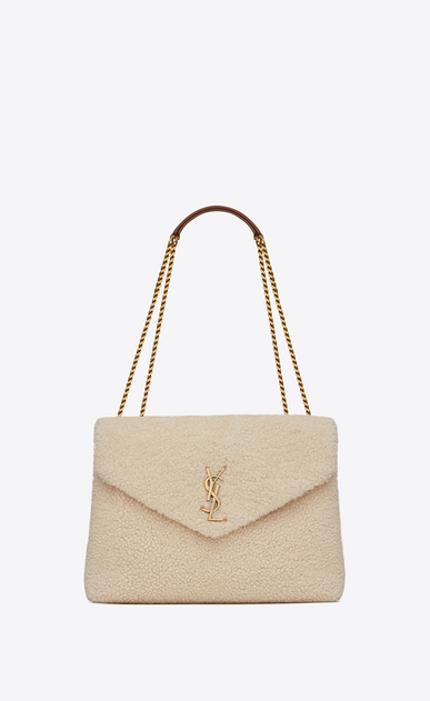 "SAINT LAURENT Monogramme Loulou Woman medium loulou bag in ivory ""y"" shearling a_V4"